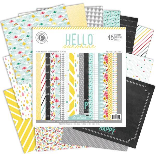 Pink Paislee Paper Pad 12inX12in 48/Pkg-Hello Sunshine