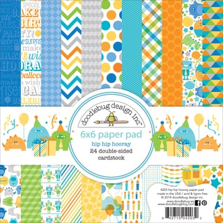 Hip Hip Hooray Paper Pad 6inX6in 24/Sheets-Double-Sided