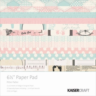 Kaisercraft Paper Pad 6.5inX6.5in 40/Pkg-Pitter Patter