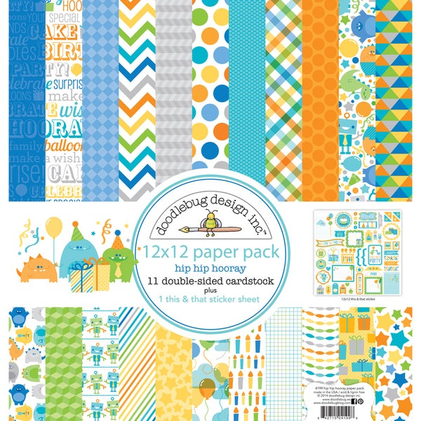 Hip Hip Hooray Paper Pack 12inX12in