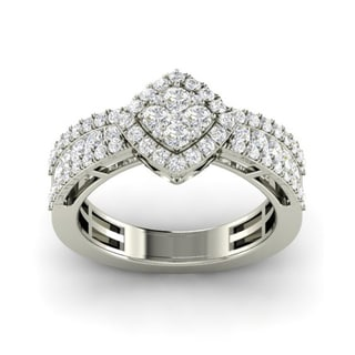 18k White Gold 1ct TDW Cushion-cut Diamond Ring (G-H, SI1-SI2)