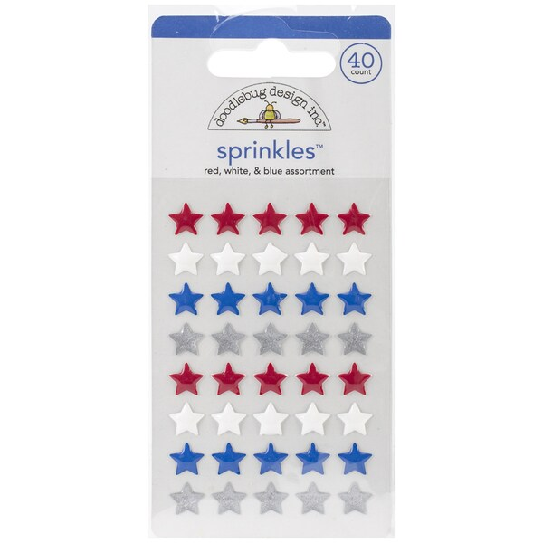 Glossy Enamel Adhesive Sprinkles-Red, White & Blue Stars 40/Pkg