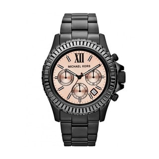 Michael Kors Women's MK5872 Everest Peach Glitz Dial Black Stainless Steel Watch