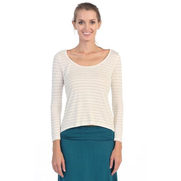 Hadari Women's White Long Sleeve Boat-neck Top