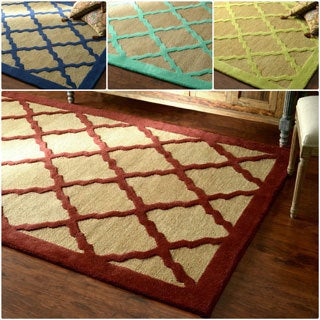 nuLOOM Hand-looped Bordered Lattice Wool Rug (8' x 10')