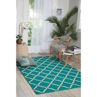 Nourison Portico Aqua Indoor/ Outdoor Area Rug (5' x 7'6)