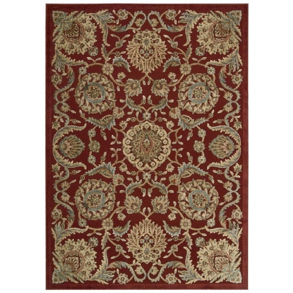 Nourison Graphic Illusions Floral Scroll Red Rug (5'3 x 7'5)