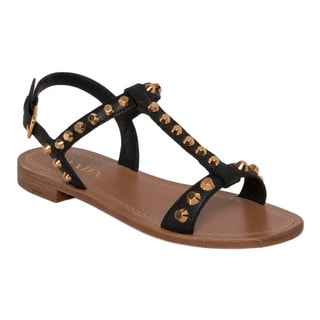 Prada Women's Black Saffiano Leather Studded Sandals