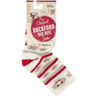 Red Heel Monkey Stripe Crew Socks 1pr/Pkg-Child Size X-Small Brown