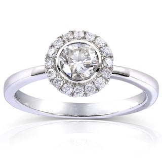 Annello 14k White Gold 1/2ct TDW Round Bezel Diamond and Halo Engagement Ring (H-I, I1-I2)