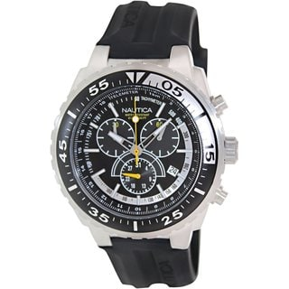 Nautica Men's Nst 700 N14675G Black Rubber Quartz Watch with Black Dial