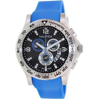 Nautica Men's Nst 600 N19604G Blue Rubber Quartz Watch with Black Dial