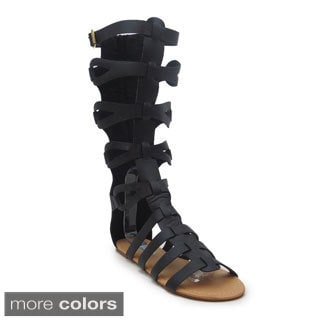 Blue Women's 'Houston' Mid-calf Gladiator Sandals