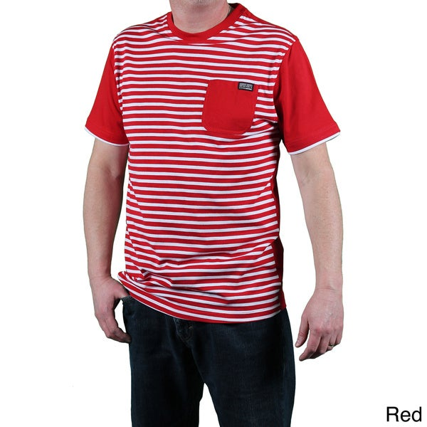 MO7 Men's Slim Fit Striped Front-pocket Tee