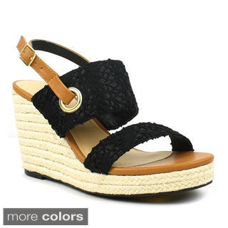 Mark and Maddux Women's 'Palo-02' Crocheted Lace Espadrille Wedges