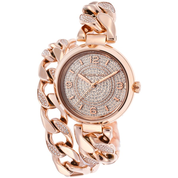 Michael Kors Women's MK3267 Ellie Rosetone Pave Crystal Wrap Watch