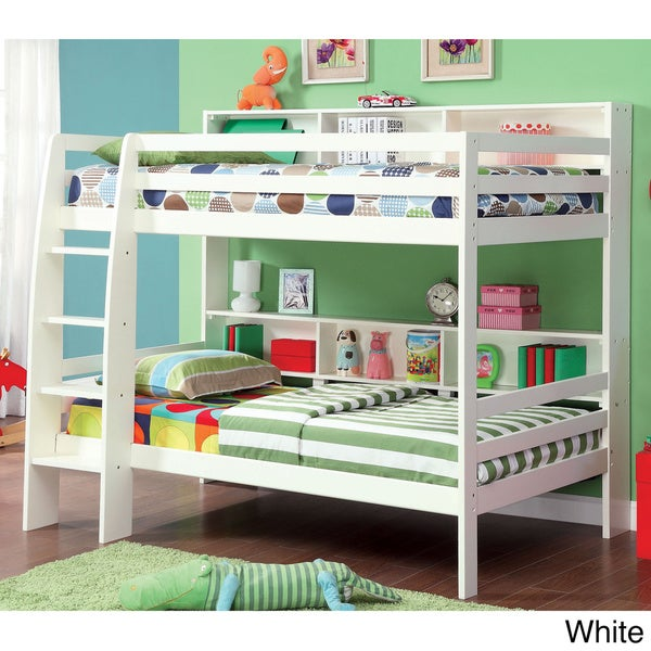Furniture of america renaive modern twin over twin bunk for Furniture of america pello full over full slatted bunk bed