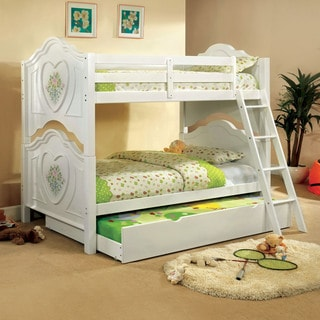 Furniture of America Rosalina Floral White Bunk Bed
