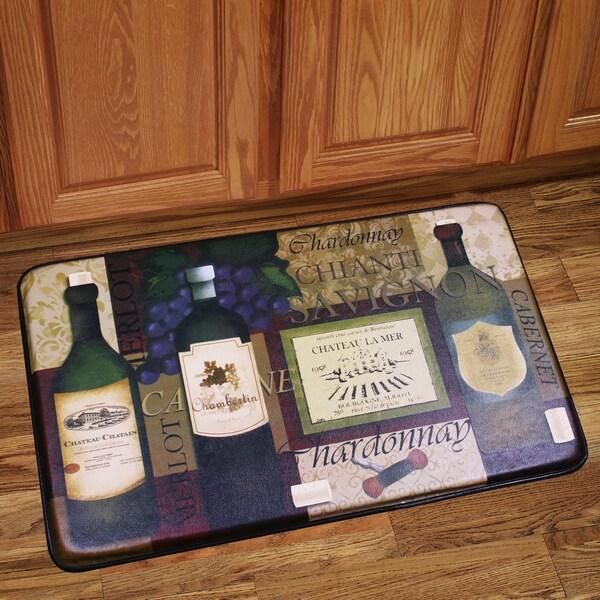 Kitchen Floor Mats Reviews: Memory Foam Favorite Wine Design Kitchen Floor Mat