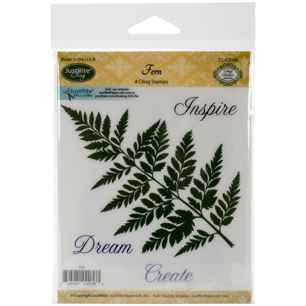 JustRite Papercraft Mini Cling Stamp Set 3.5inX4in-Ferns 4pc