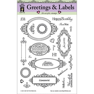 Hot Off The Press Acrylic Stamps 8inX8in Sheet-Greetings & Labels