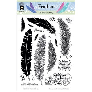 Hot Off The Press Acrylic Stamps 6inX8in Sheet-Feathers