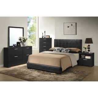 Baxton Studio Carlson Black Wood 5-Piece Queen Size Modern Bedroom Set