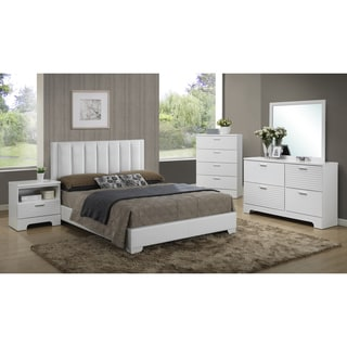 Baxton Studio Carlson White Wood 5-Piece Queen Size Modern Bedroom Set