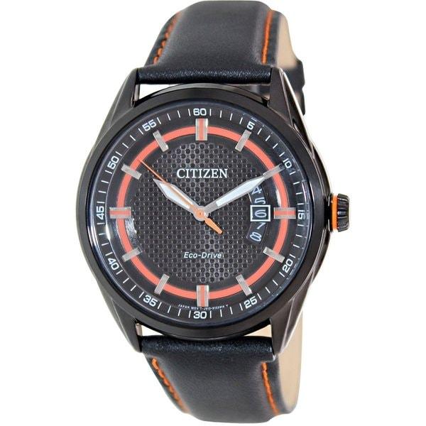 Citizen Men's Eco-Drive AW1184-13E Black Leather Eco-Drive Watch