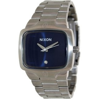 Nixon Men's Player A1401258 Silvertone Stainless Steel Quartz Watch with Blue Dial