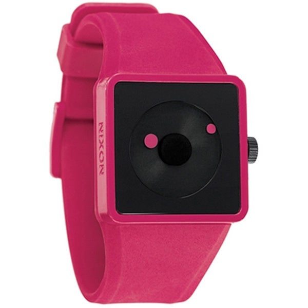 Nixon Men's Newton A116220 Pink Polyurethane Analog Quartz Watch with Black Dial