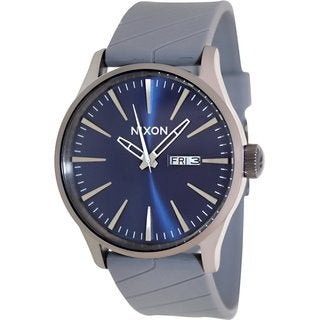 Nixon Men's Sentry A0271258 Grey Rubber Quartz Watch with Blue Dial