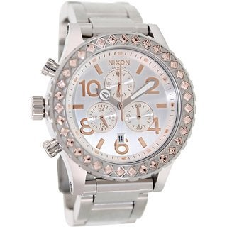 Nixon Women's 42-20 Chrono A0371519 Silvertone Stainless Steel Quartz Watch with Silvertone Dial