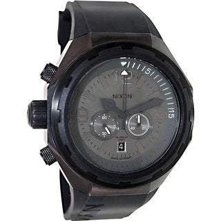 Nixon Men's Steelcat A313001 Black Silicone Swiss Quartz Watch