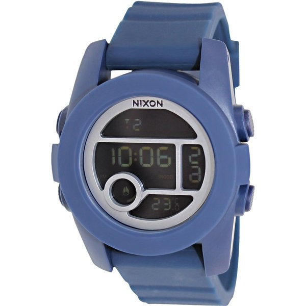 Nixon Men's Unit 40 A490307 Blue Rubber Quartz Watch with Digital Dial