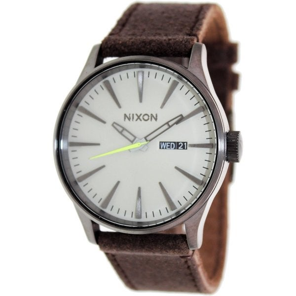 Nixon Men's Sentry Leather A1051388 Brown Leather Quartz Watch