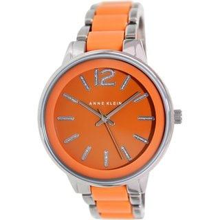 Anne Klein Women's AK-1609ORSV Orange Stainless Steel Analog Quartz Watch with Orange Dial