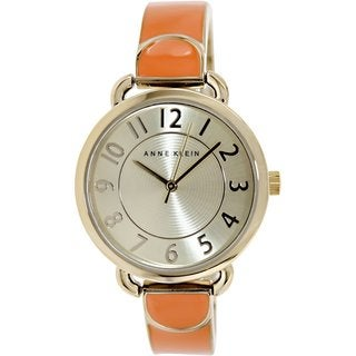Anne Klein Women's AK-1606ORGB Orange Stainless Steel Analog Quartz Watch with Goldtone Dial