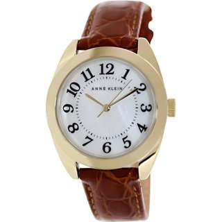 Anne Klein Women's AK-1398MPHY Brown Leather Analog Quartz Watch with Mother-Of-Pearl Dial