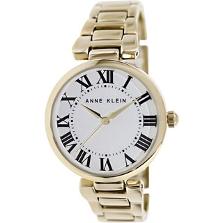 Anne Klein Women's AK-1428SVGB Goldtone Stainless Steel Analog Quartz Watch with White Dial