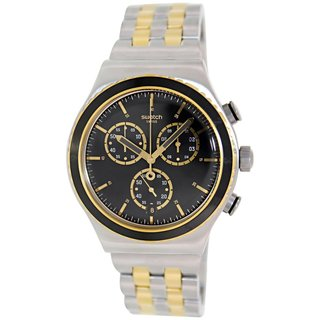 Swatch Men's Irony YVS403G Silvertone Stainless Steel Swiss Quartz Watch with Black Dial
