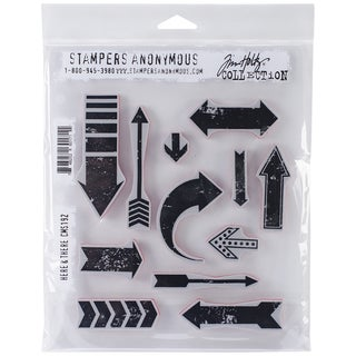 Tim Holtz Cling Rubber Stamp Set 7inX8.5in-Here & There