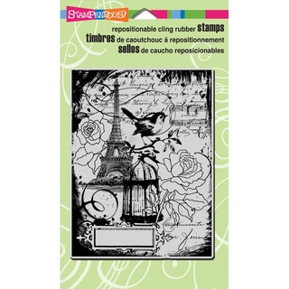 Stampendous Cling Rubber Stamp 4inX6in Sheet-Eiffel Collage