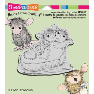 Stampendous House Mouse Cling Rubber Stamp 3.5inX4in Sheet -Shoe Babies
