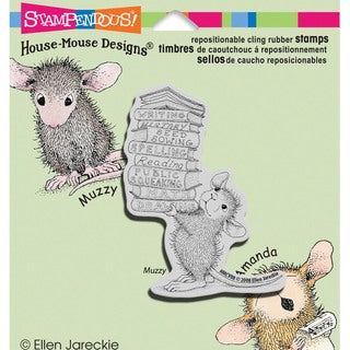 Stampendous House Mouse Cling Rubber Stamp 3.5inX4in Sheet-Stack Of Books