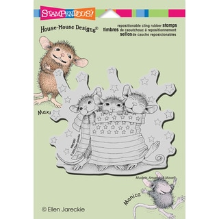 Stampendous House Mouse Cling Rubber Stamp 5.5inX4.5in Sheet -Star Spangled Mice