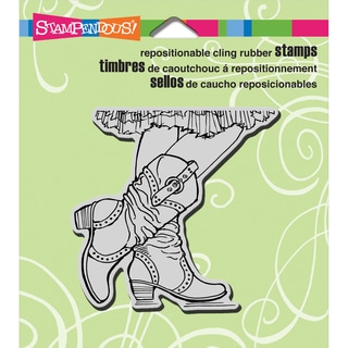 Stampendous Cling Rubber Stamp 3.5inX4in Sheet-Cowgirl Boots