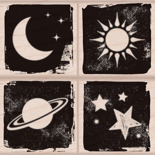 Hero Arts Mounted Rubber Stamp Set 3inX3in-Moon & Stars