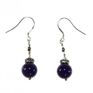 Handmade Sterling Silver Amethyst Dangle Earrings (China)