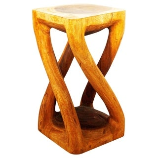 Hand-carved 12-inch Oak Oiled Vine Twist Stool (Thailand)
